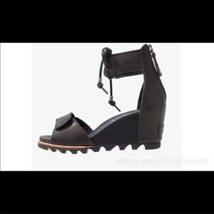 🆕 Sorel Black Joanie Lace-Up Ankle Wedges (7.5)